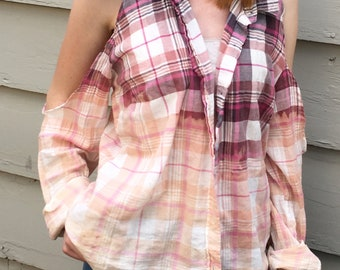 Upcycled Clothing- Cold Shoulder, Recycled Clothing, Vintage Shirt, Country, Boho Clothing, Shirt, Women, Bleached Flannel, Summer Shirt