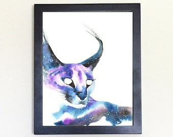 Caracal Cat Galaxy Spirit Totem Animal Art Print Watercolor 8x10