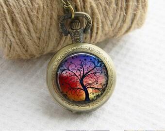Pocket Watch Necklace Tree of Life Art Photo Pendant Watch Locket Necklace (055)