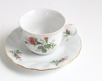 Vintage Teacup Set, Pink Teacup Set, Rose Teacup Set, Pink and White Teacup, Teacup & Saucer, Floral Teacup Set, White Teacup Vintage Teacup