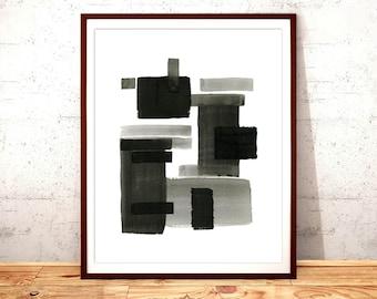 Black Watercolor Abstract Print, Wall Art, Watercolor, Printable Digital Download, Modern Art, Printable Art, Beautiful Art Print, Home Deco