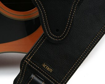 Simply Classy 200 Soft Black Leather Guitar Strap with Gold Stitching