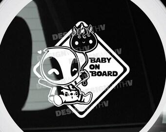 """Baby On Board - Vinyl Car Decal - Deadpool 6""""x6"""""""