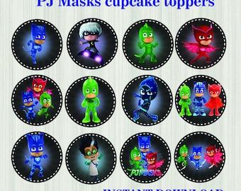 Pj Masks Cupcake Toppers Chalkboard * Pj Masks Stickers * Pj Masks  Printables, Pj Masks Birthday,Pj Masks Party Favors *Pj Masks Cake Topper