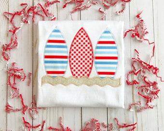 Patriotic Stripes & Gingham Surfboard Applique Shirt