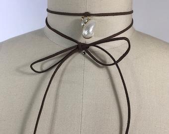 Vegan suede choker & vintage shell pendant