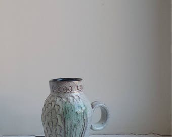 """Clive Brooker Studio Pottery """"Good Luck"""" Jug with Thistle Pattern"""