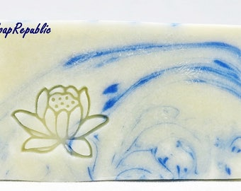 SoapRepublic 'Lotus' 25x20mm Acrylic Soap Stamp / Cookie Stamp / Clay Stamp