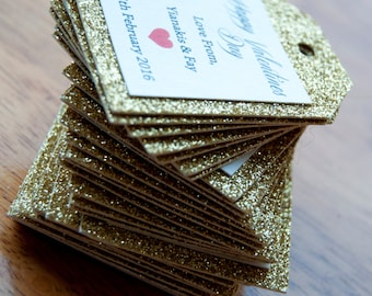10x Gold Glitter Favour Tags