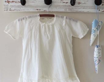 Antique White Cotton Baby Dress