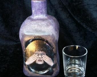 Decorative bottle, Decorative bottle, Adorno, bottle to decorate, original, unique, Vintage bottle, Home decor, Cottage decor,