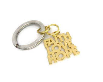 Inspirational Key Rings, Silver and Gold Tone Combination