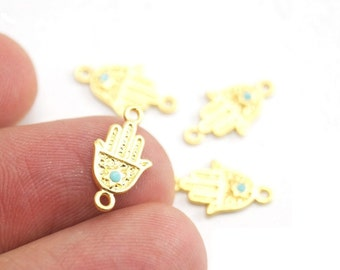 2pcs Matte 22K Gold Plated Base Hand of Hamsa Connector - Hand 15x8mm (018-031GP)