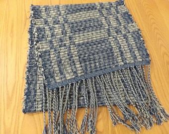 Handwoven Table Runner, Reversible, Rag Weaving in Navy & Tan, RU06