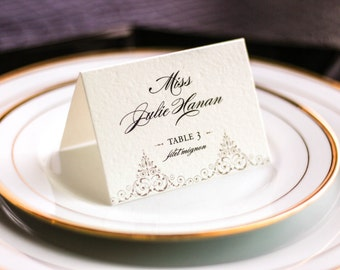 "Elegant Event Seating, Wedding Placecards, Dinner Party, Escort Cards, Black and Gold - ""Delicate Filigree"" Tented Placecard v1 - DEPOSIT"