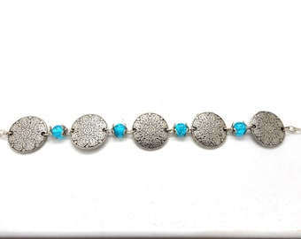 Bracelet Costume Jewelry Turquoise beads and silver charms