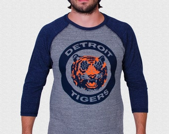 Detroit Tigers Raglan Shirt Logo triblend 3/4 sleeve unisex 1984 World Series Tigers Fan Gift USA made Gift For Dad Opening Day 2018