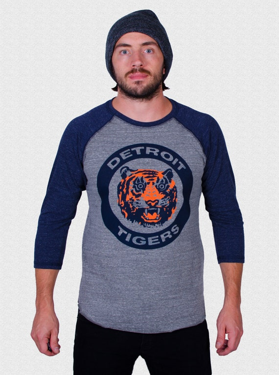 Detroit Tigers Raglan Shirt Logo triblend 3/4 sleeve unisex 1984 World Series Tigers Fan Gift USA made Gift For Dad Opening Day 2018 7VlUwyBp4S