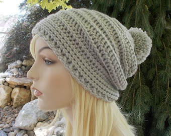 Gray Pom Pom Hat, Slouch Beanie, Womens Hats, Slouchy Hat, Winter Hat, Long Beanie, Teen Hats, Cute Hats, Gift Ideas for Women and Teens