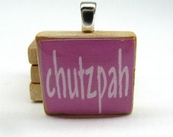 Hebrew Scrabble tile - Chutzpah - raspberry pink