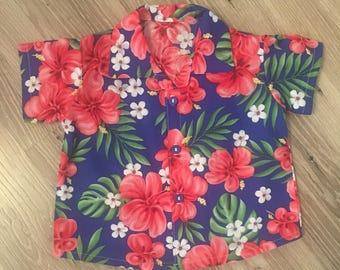 Baby Hawaiian shirt Blue with pink hibiscus