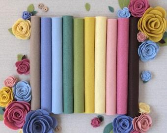 Wool Felt // Secret Garden //Merino Felt, Felt Assortment, Felt Flowers, Felt Kit, Felt Sheets, Merino Felt Collection, Wool Felt Fabric