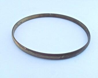 Vintage Brass Bracelet Single Bangle One Stackable Thin Slim Plain Unadorned Patina Wrist Adornment Villacollezione