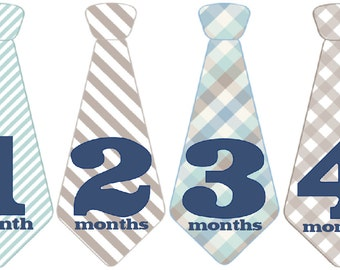 Monthly Baby Boy Tie Stickers, Baby Month Stickers, Monthly Bodysuit Sticker, Monthly Stickers (Tatum)