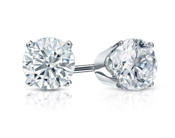 14k Gold 4-Prong Crown Round Diamond Stud Earrings 1.25 ct. tw. (G-H, SI2)