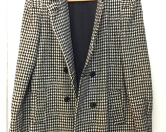 Houndstooth wool jacket women's 4/6 vintage 1990s boxy shape