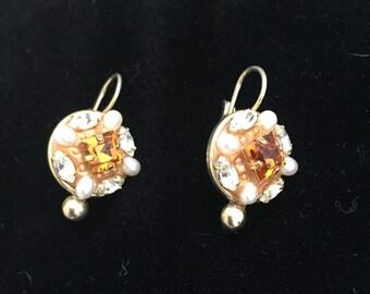 Vintage Topaz Seed Pearl and Rhinestone Earrings
