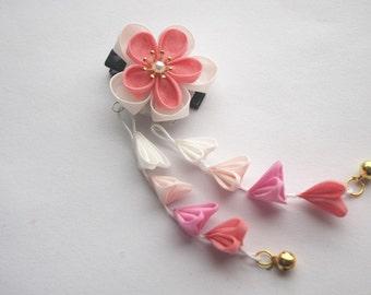Handmade Japanese Traditional Tsumami Kanzashi Hair Clip Pin Kimono Yukata Outfit Wedding Ornament White Pink Sakura Beautiful Falls