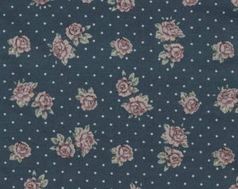 Canvas oilcloth, blue, flowers, liberty, printed small roses sold Cup, by 10cm