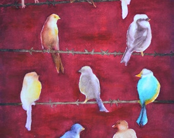 """Bird Club,a fine art giclee reproduction of an original watercolor painting by Meike Geisler,9.5"""" x 13.5"""",colorful birds meeting on barbwire"""