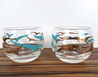 Set Of 2 Atomic Turquoise And Gold Roly Poly Barware Glasses, Mid Century Modern Seagull Barware