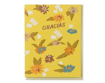 Gracias Yellow Floral Card
