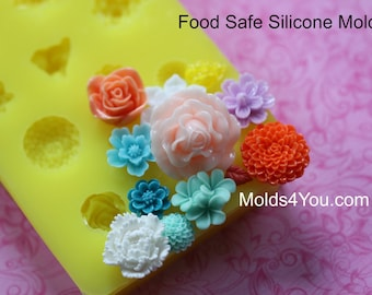 Silicone Mum Carnation Mold Resin Mold Fondant Sugar Wax Soap Baking Polymer Clay Rose Mold DIY Cabochon Mold Mum Roses