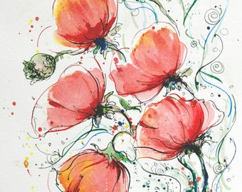 Floral Art Poppies Painting Original painting Floral flower art Red poppies wall art flower painting colorful painting red poppies art