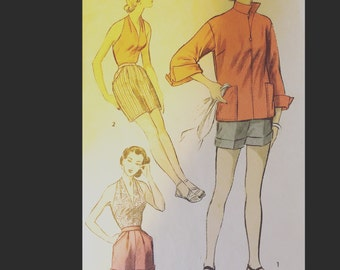 Vintage 50s Marilyn Halter Top Cuffed Bermuda Shorts in 2 Styles Zip Front Beach Jacket Sewing Pattern 6105 B34