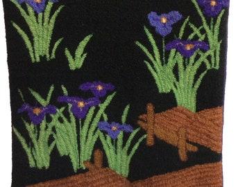 """Hand-hooked rug  """"Japanese Iris"""""""