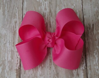 "Hot Pink Large Hair Bow 4"" Alligator Clip Girls Hairbow Hot Pink Large Girls Hair Bow Hot Pink Large Hair Bow"