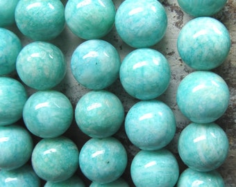 Amazonite Beads 10mm Aqua Blue/Green Swirled Russian Amazonite Smooth Beads -  8 Pieces