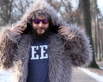 Man faux fur coat / Fake fur jacket with hood / Shaggy men coat/  Man oversize fur coat / Grey fake llama coat/ Playa coat/ Burning man coat