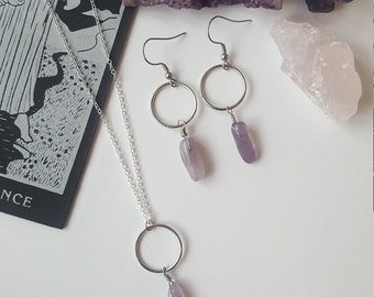 Amethyst minimal jewelry duo - Boho, Witchy, stones, alternative, goth, gothic, romantic, crystal, Equinoxart