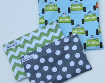 Reusable Sandwich and Snack Bag Set  of Three Race Cars Polka Dots Chevron