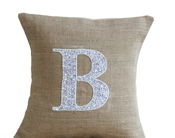 monogram throw pillow, burlap pillow cases, personalized pillow, sequin monogram pillow, custom sequin pillow, kids pillow, alphabet pillow