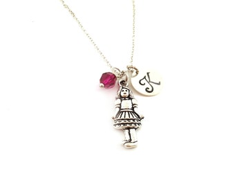 Girl Necklace -  Lady Charm - Swarovski Crystal Birthstone Necklace - Personalized Initial Sterling Silver Jewelry - Gift for Her