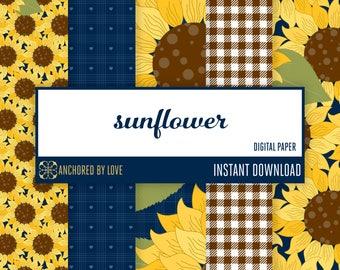 Sunflower digital paper | Gingham digital paper | Rustic scrapbook paper digital | Fall Digital paper floral scrapbook | Navy Digital paper