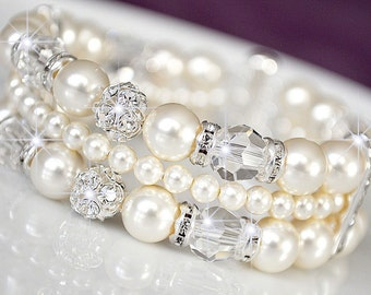 Wedding Cuff Bracelet, Rhinestone Wedding Bracelet, Swarovski Wedding Bracelet, Ivory Pearl Wedding Jewelry