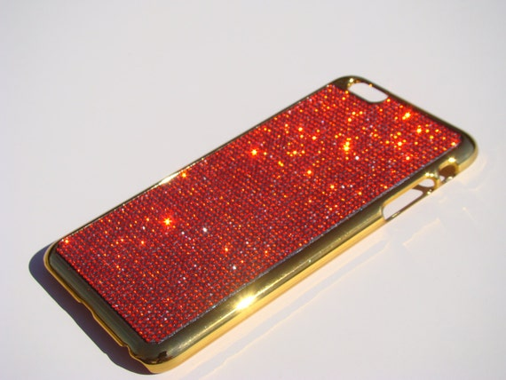 iPhone 6 Plus Case / iPhone 6s Plus Case  Red Siam Rhinestone Crystals on Gold-Bronze Case. Velvet/Silk Pouch Included, .